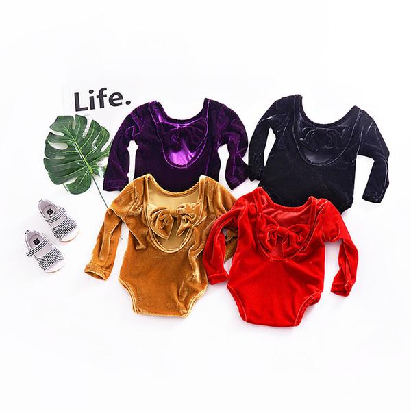 Baby Girls Bow Backless Romper Infant Long Sleeve Onesie Cute Christmas Toddler Jumpusuit velvet Babies Bodysuit