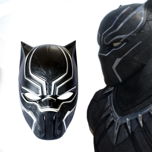 top popular fast free shiping New Black Panther Mask Movie Fantastic Four Cosplay Men's Latex Party Mask for Carnaval Purim Halloween party event 2019