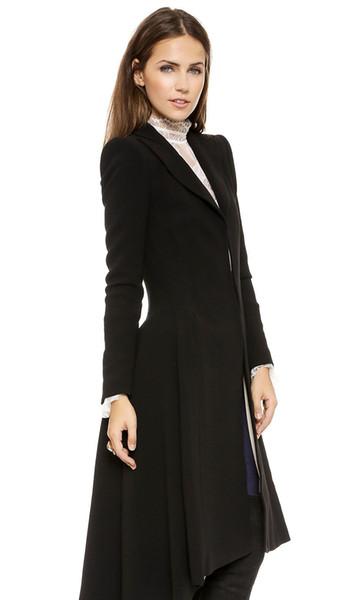 Primavera Outono Mulheres Moda Preto Maxi longo Trench Coat Dovetail Magro grande saia 6XL Feminina de lã Trench Outwears Feminino Casual