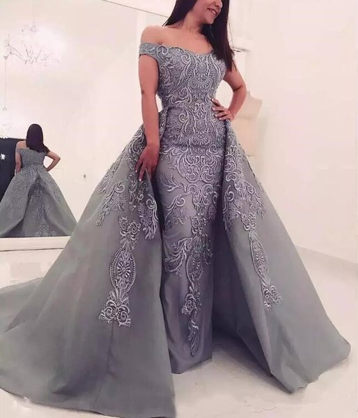 Gray Mermaid Off Shoulders Formal Evening Party Dresses 2019 New Arrival Elegant Lace Appliqued Long Prom Gowns With Detachable Overskirts