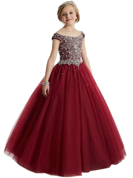 Stock Wine Red Flower Girl Dresses Princess Birthday Pageant Formal Crystal Gown