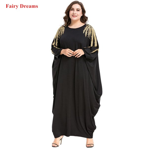 Black Abayas Beading Women Islamic Clothing Muslim Long Sleeve Maxi Dress Spring Autumn Kaftan Dubai Malaysia Turkey Caftan Robe