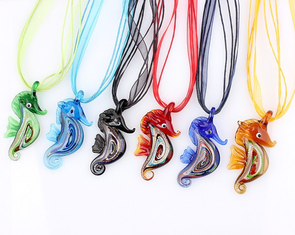 QianBei Wholesale 6pcs/lot Multicolor Gold Sand Seahorse murano Lampwork Glass Pendant necklaces Jewelry Accessory handmade Craft Jewelry
