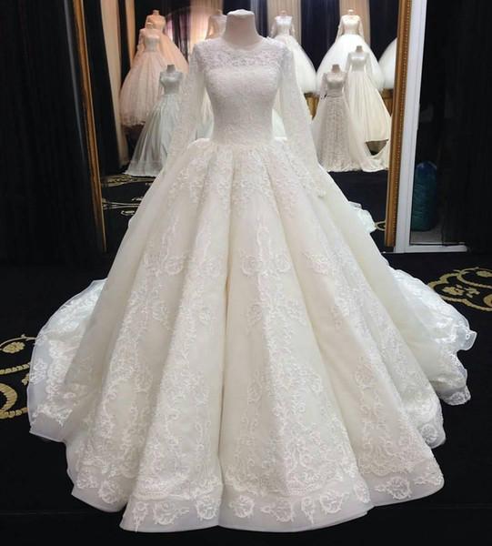 2019 Новый Ближний Восток мусульманские свадебные платья с длинным рукавом кружева аппликация свадебные платья плюс размер дешевые бальное платье платье 2018 vestido де novia