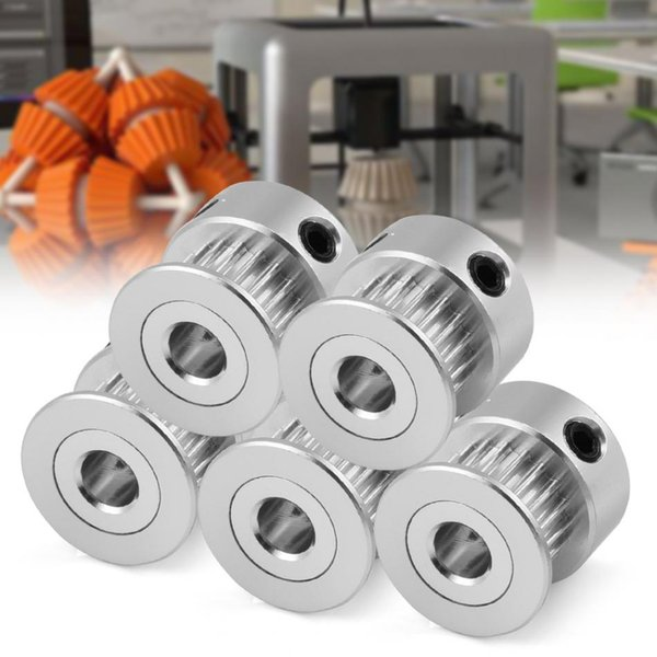 5 Pcs 2GT 5mm / 8mm 20T Aluminum Alloy Gear Synchronous Timing Belt Pulley for 3D Printer