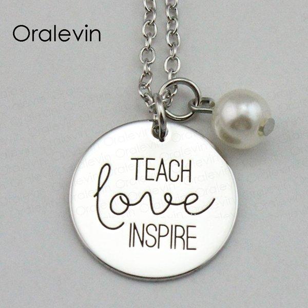 Новая мода учат любви вдохновляют вдохновляющие ручной штамповкой выгравированы пользовательские кулон ожерелье подарок металла штампованные ювелирные изделия, 10 шт. / лот, #LN1899