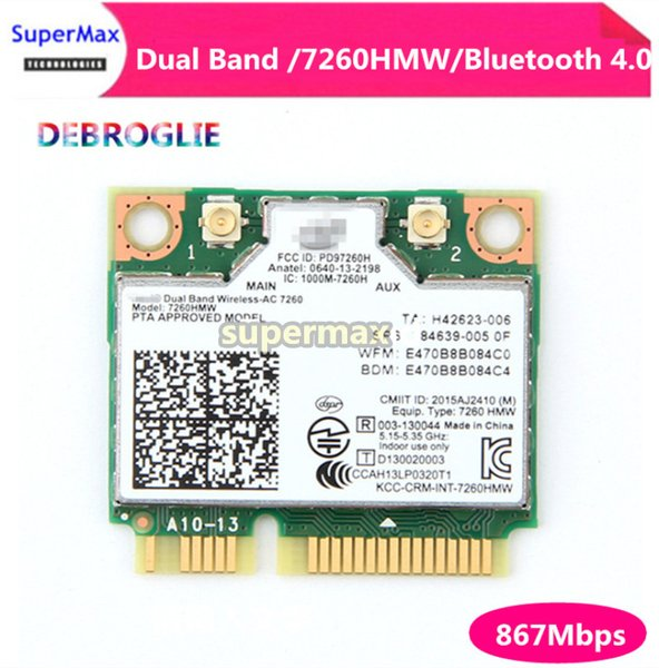 New Dual Band Wireless Wifi Card For Intel AC7260 7260HMW ac Mini PCI-E 2.4G/5Ghz Wlan Bluetooth 4.0 Wifi Card