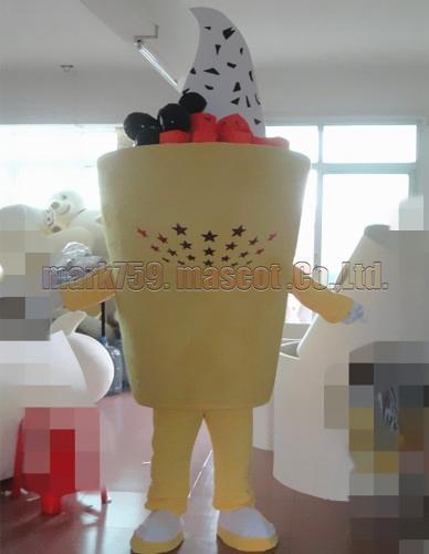 neues Eiscremetasse-Maskottchenkostüm Freie Verschiffen-erwachsene Größe, Eiscrememaskottchenluxusplüschspielzeug-Karnevalspartei feiert Maskottchenfabrikverkäufe.