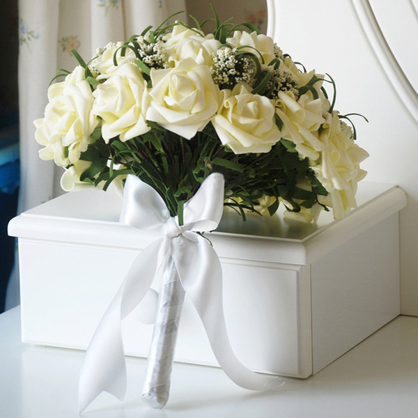 Новый искусственный старинные свадебные букеты для невесты шелк рука цветы ручной работы свадебный букет невесты аксессуары Белая роза CPA1541