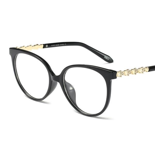 Cristal de diamante de cristal armações de óculos mulheres tendências estilos 2018 novo designer de marca retro óptico moda computador óculos fml