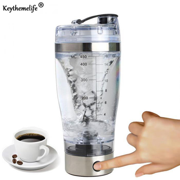 450ml Protein Powder Shakes Bottle Leakproof Lid Stainless Steel USB Electric Shaker Water Bottle Auto Stirring Coffee Glass