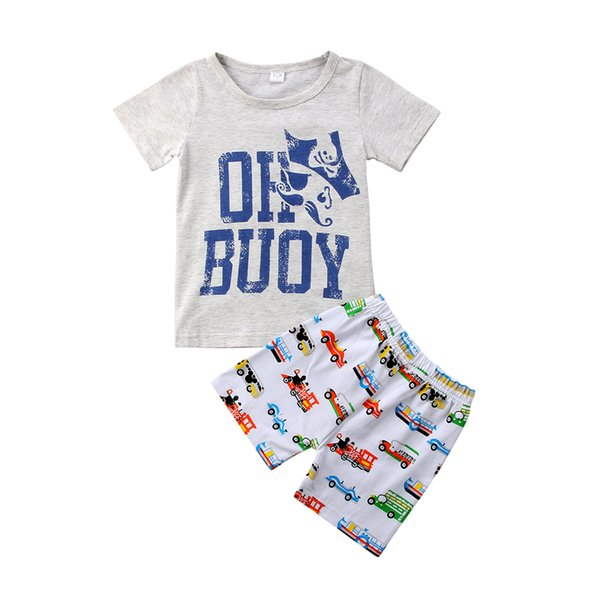 2018 baby kids boys clothes cartoon gray T-shirt+cars shorts 2pcs Set outfit clothing baby boy casual sport toddler summer boutique 1-6Y