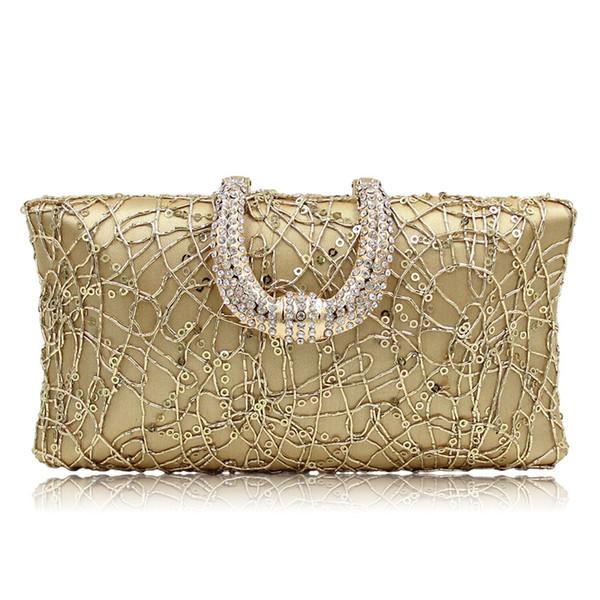 Women Clutch Bags Luxury Handbags Sequins Crystal Gold Red Evening Bag Wedding Bride Purse Ladies Small Crossbody Shoulder Bags