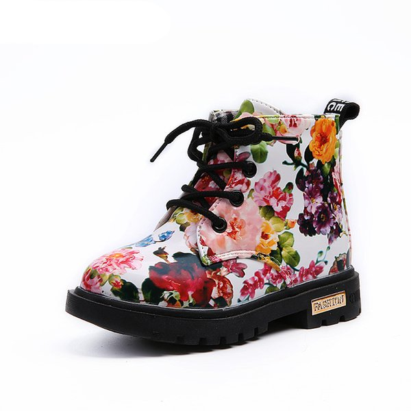 Kids Shoes Floral Martin Boots for Girls Botas Elegant Flower Print PU Leather Shoes Child Rubber Soled Boots