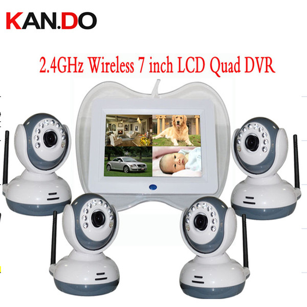 "QUAD display 2.4GHz Wireless 7"" LCD Baby Monitor DVR + 4pcs 9 IR LED CCTV Camera ok SD Card Video Recording wireless cctv camera"
