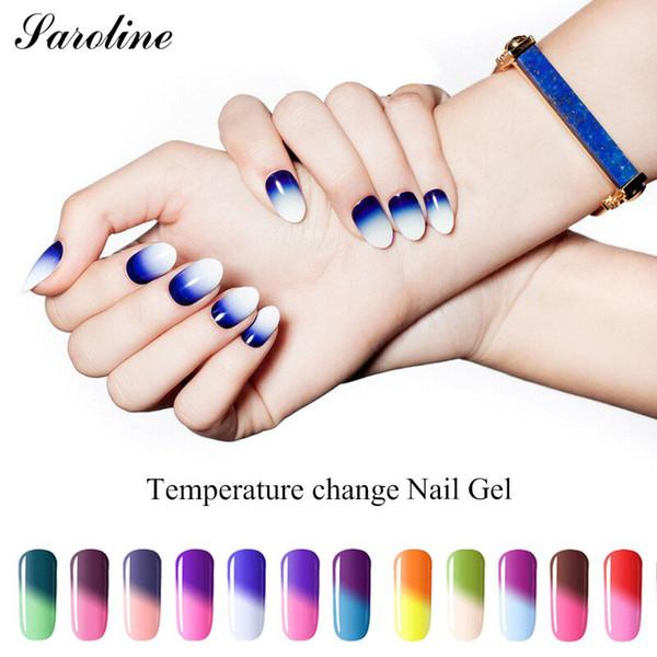 Saroline temperatura mudança de cores unhas de gel polonês semi-permanente verniz híbrido embeber off mudança de cor térmica uv gel laca