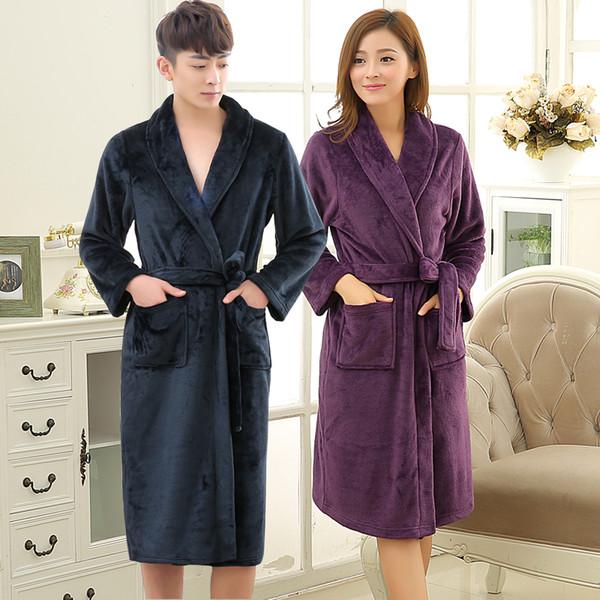 71ac7b1d8249ab6 Новые любители мягкой, как шелк зимой теплый длинный халат мужчины фланель  кимоно халат мужская гостиная
