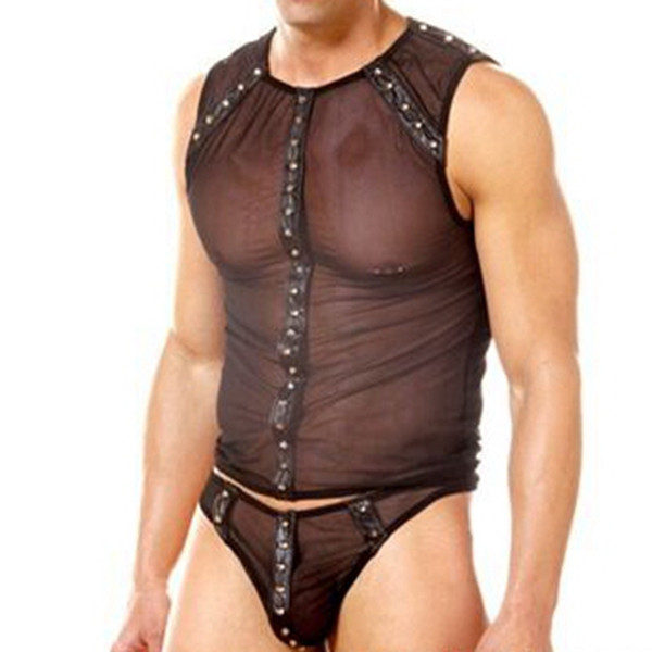 2018 New Sexy Mens Faux Leather Bodysuit Erotic Leather Lingerie Gay Male Costume Fetish Bondage Nightclub Pole Dancing Clothes