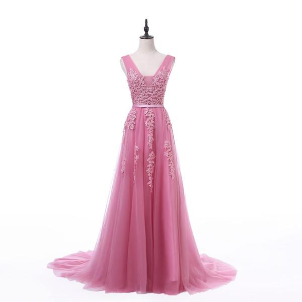 FADISTEE New arrival party evening dresses Vestido de Festa A-line prom dress lace beading Robe De Soiree V-neck dress with Zipper