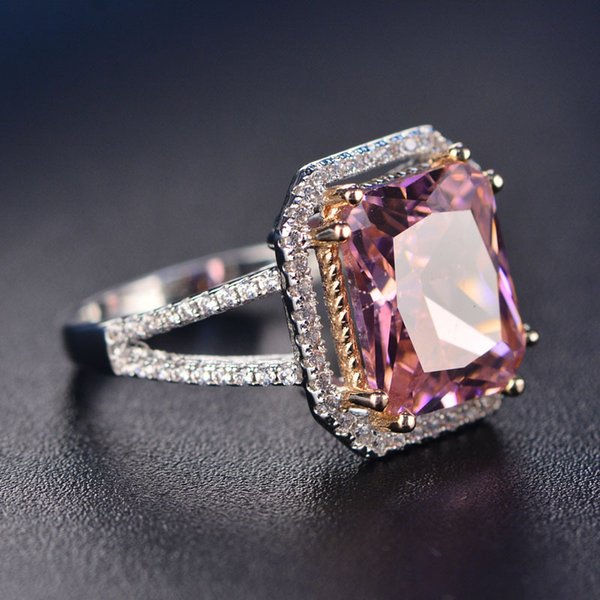 Cubic Zirconia Square Pink Cushion Stone Ring Geometric Ring for Women Bridesmaid Party Gift