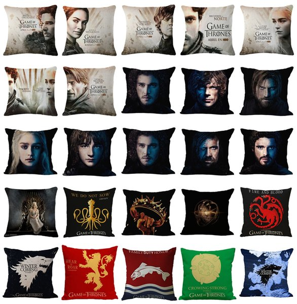New 45x45cm Game of Thrones Cushion Cover Cotton Linen Chair Bedroom Seat Decorative Pillowcase Square Pillow Car-Covers