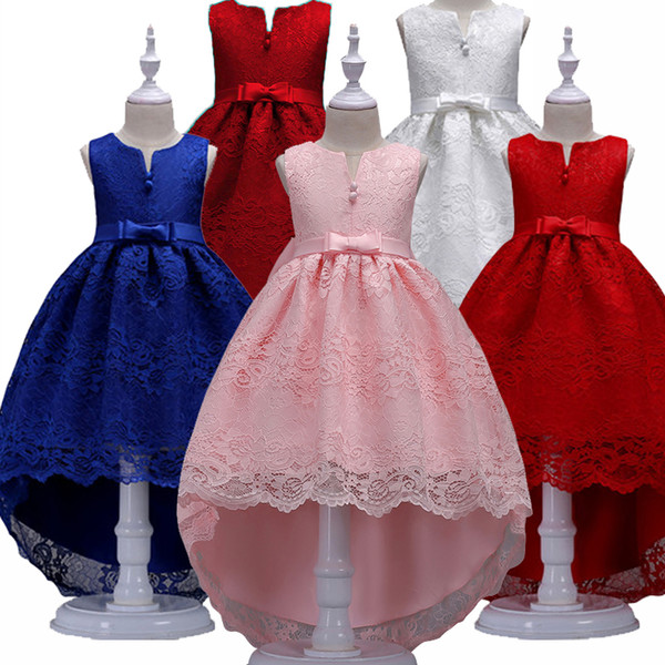 Ragazze vestono per ragazze Abiti da festa Baby senza maniche Tutu Abiti da principessa Flower Bambini Trailing vestiti 3-12Y