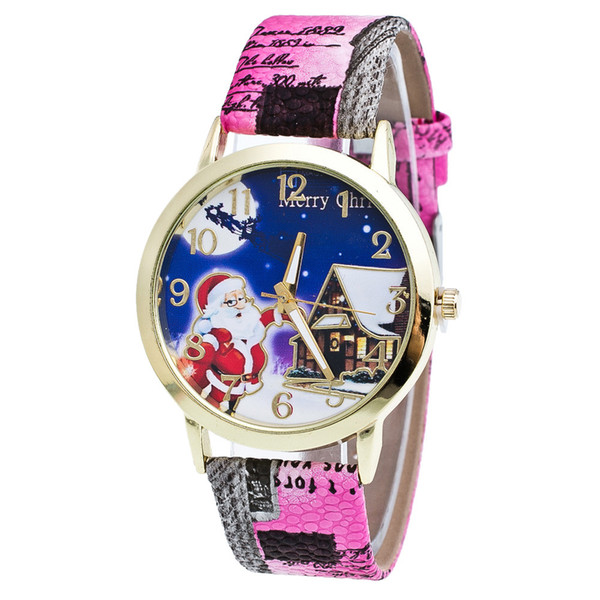 Genvivia 2018 High Quality Crystal Hot Sale Christmas Gift Lady Glass Mirror Watch Snow House Pattern Printing Leather Strap