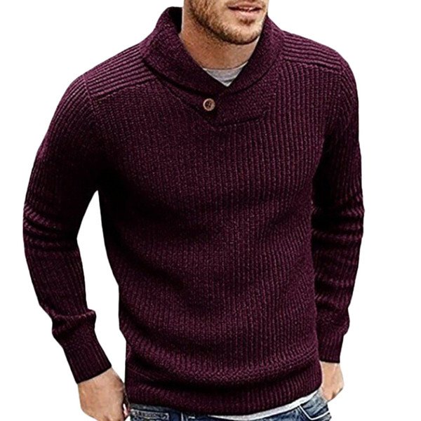 Sweater Men 2018 New Arrival Casual Pullover Men Autumn turn down Neck Quality Knitted Brand Male Sweaters Plus Size