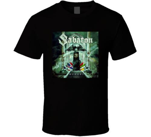 Sabaton heroes album cover music band black white men's tshirt free shipping