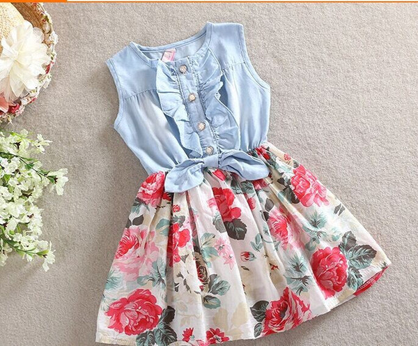 Boutique cotton baby clothing girl's 2 color Lotus leaf dresses floral printed sleeveless Denim patchworkd Princess skirt H065