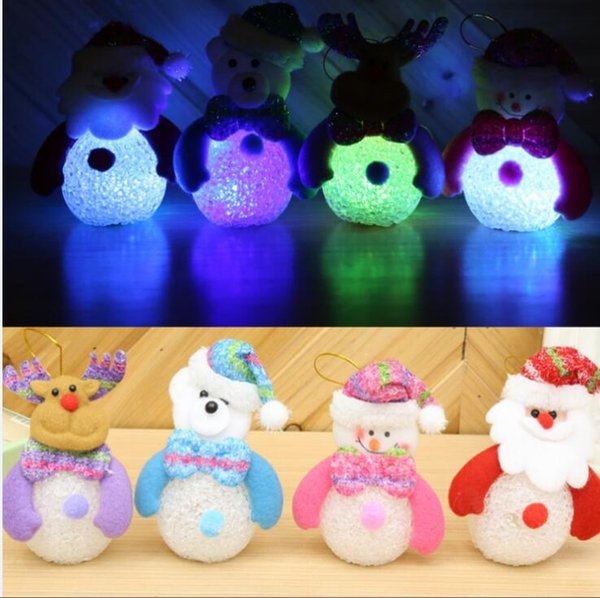100pcs Cute Snowman LED Battery Operated Rainbow Changing Night Light Christmas Tree Decoration Gift Event Party Supply