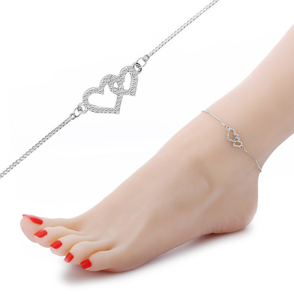 3 Color fashion heart anklets foot jewelry women sexy barefoot sandals ankle bracelet summer beach gold chain lady ankle bracelets