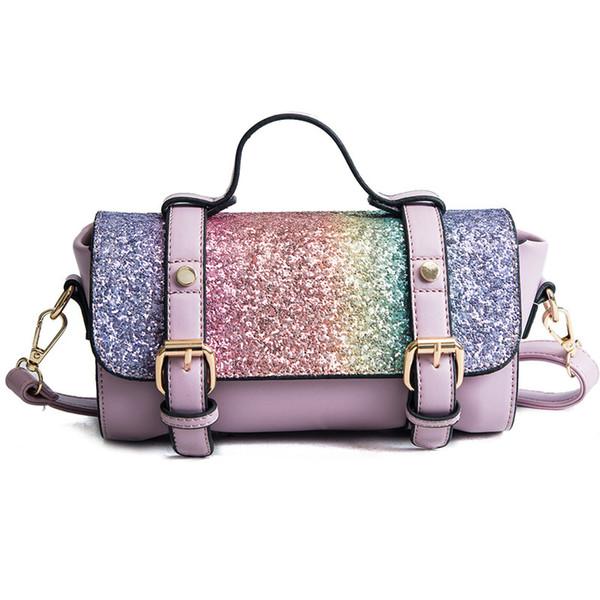 2018 new fashion pillow bag color sequins mosaic ladies shoulder Messenger bag.