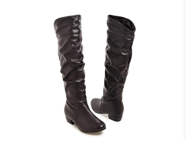 Big Size 34-42Fashion Knee High Boots Square Heels Add Warm Winter Riding Boots Women Shoes Woman Black White