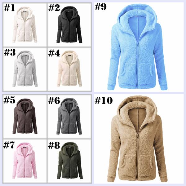 Frauen Sherpa Hoodies Langarm Weich Fleece Sweatshirt Winter Strickjacke Reißverschluss Mit Kapuze Mantel Outwear Sherpa Pullover Freizeitjacke H50
