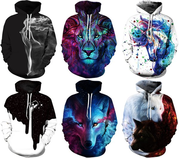 2017 NWT Winter Autumn Fashion Men Sports Coat Pullover Hoodies Galaxy 3D Print Christmas Plus size Hooded with Hat Sweatshirts