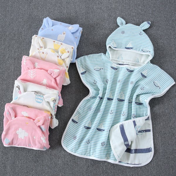 6 layers of cotton gauze cloak with a cap can be worn six children towel shawls bathrobes baby supplies 22 color DHL free shipping