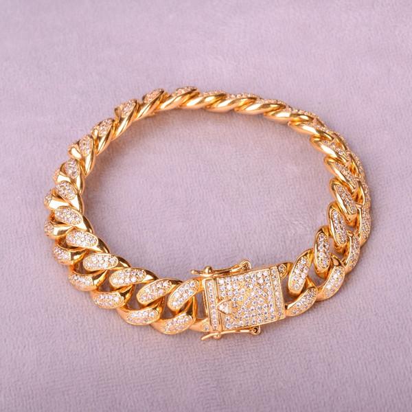 Kubanische Armband Hip Hop Schmuck Gold Dick Heavy Top Fashion 12mm Männer Zirkon Kandare Kupfer Material Iced Out Cz Kette