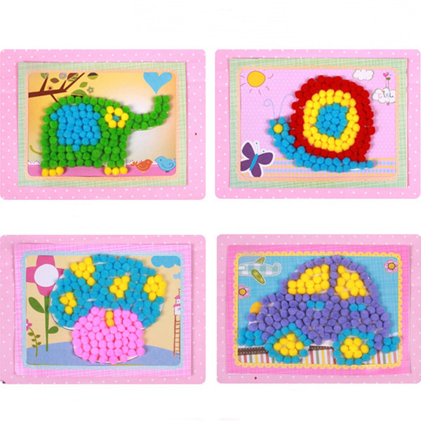 Drawing Toy Creative Handcraft Plush Painting with Fold Paper Photo Frame Learning Education Handmade Pompon Sticker 1 Set
