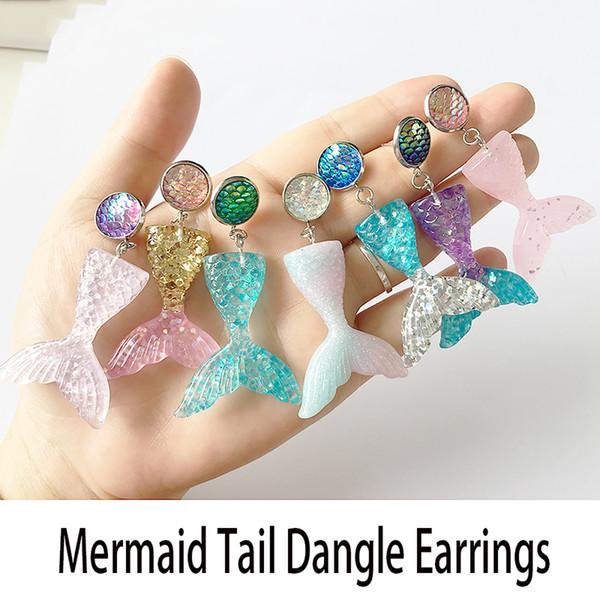 2 paires / lot 7 couleurs bricolage à la main goutte boucles d'oreilles la petite sirène paillettes queue balancent boucles d'oreilles, boucles d'oreilles écailles de poisson queue de sirène