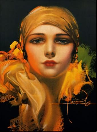 Dream Girl In a Gold Scarf By Rolf Armstrong Handpainted & HD Print Portrait Art Oil Painting On High Quality Canvas Multi Size p28