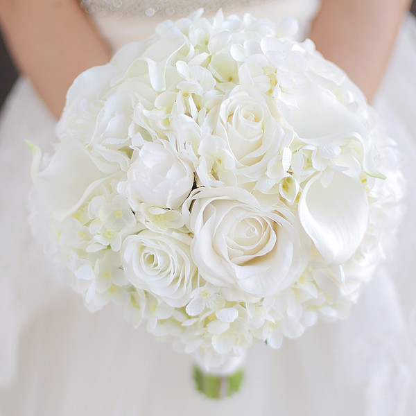 Custom wedding bouquet Bride Bridesmaid white calla Rose Peony Bride holding flowers