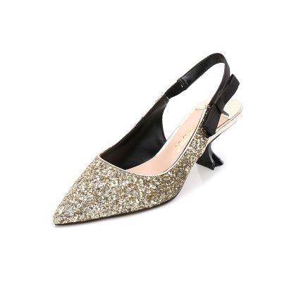 sequined 5cm heel sling back bowknot sliver gold pink dress wedding middel heel party shoes brand 531