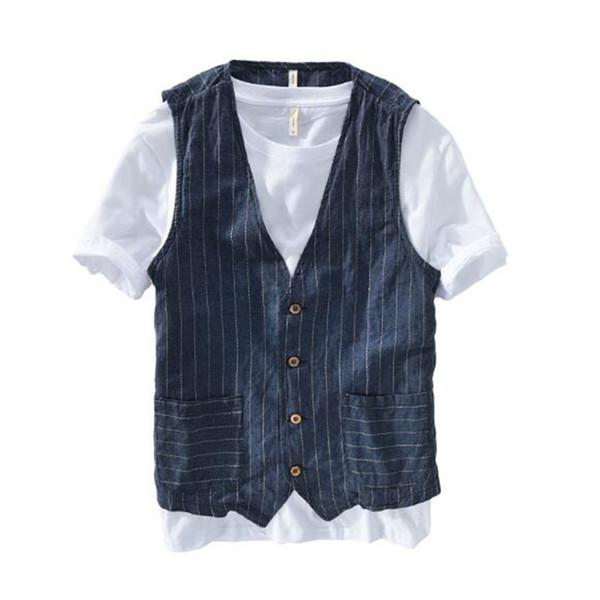 Verano fino respirable masculino chaleco de rayas sin mangas chaqueta de lino que adelgaza chaleco hombres más el tamaño 5XL 6XL 7XL
