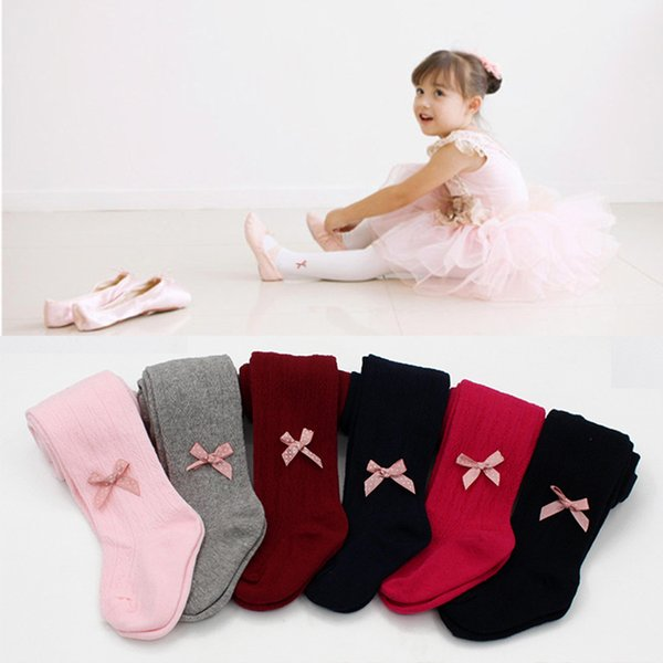 Girls cute jacquard knitted pantyhose 2sizes for 0-2T 6colors solid colors Toddlers dots ribbon bowknot tights cotton leggings spring autumn