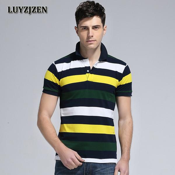 Camisa Dos Homens de Algodão 2018 Listrado Camisas de Verão de Manga Curta  camisas Dos Homens fd0c2569c1c2c