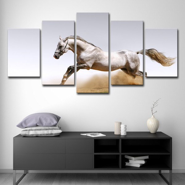 5PCS Abstract Painting Photo Wall Pictures For Living Room Decorative Painting 5 Panel The White Horse HD Poster Canvas Painting