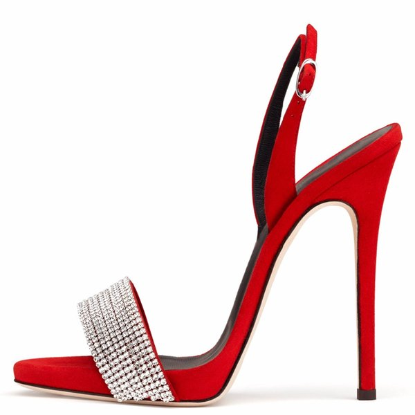Rhinestone Gladiator Sandals Shoes Women Open Toe Stiletto High Heels Zipper Sexy Party Dress Shoes Black Red