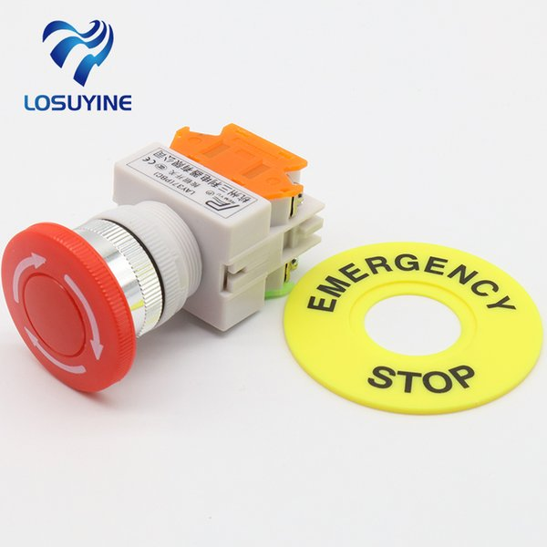 LHLL- Interruptor de botón pulsador de parada de emergencia 1NO 1NC DPST rojo AC 660V 10A