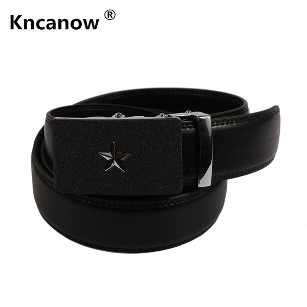 Kncanow 2018 new fashion mens leather belts male high quality designer Brand Five star ceinture mens Luxury belt Jeans Cow Strap